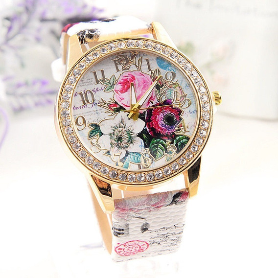 Reloj De Pedreria Paris De Dama De Caratula De Cristal