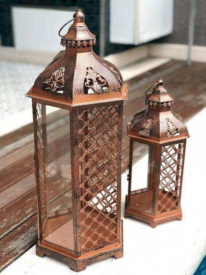 Conjunto 2 Lanterna Marroquina Metal Vidro Cobre Envelhecida