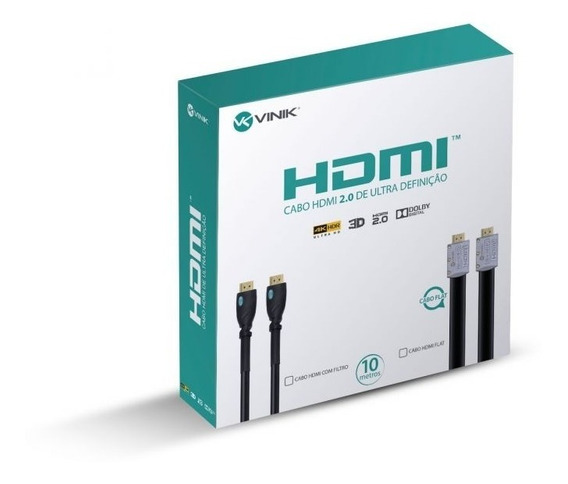 Cabo Hdmi 2.0 4k Ultra Hd 3d Conexão Desmontável 10 Metros