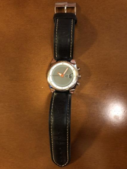 Relógio Fossil Original Em Aço E Pulseira Em Couro Azul