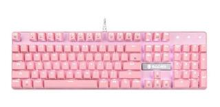 Teclado Mecanico Gamer Sades Switch Azul Pink White Led
