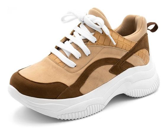 Tênis Sneakers Chuncky Recortes Chocolate Nude E Croco