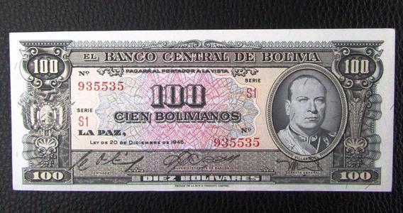 Bolivia Billete 100 Bolivianos Año 1945 Pick 147 Au Casi Sin Circular