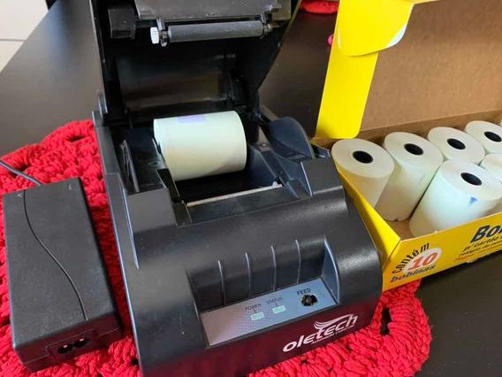 Impressora Oletech 58mm Com 10 Bobinas E Cd De Instalação