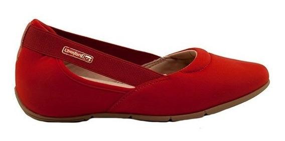 Zapatillas Mujer Lycra Rojo Plantilla Confort Comfortflex