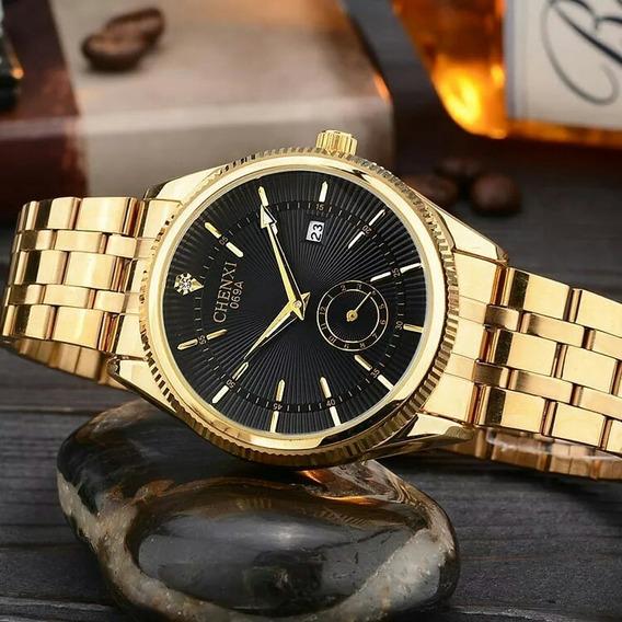 Relógio Masculino Casuais Banhado A Ouro Original Promoção