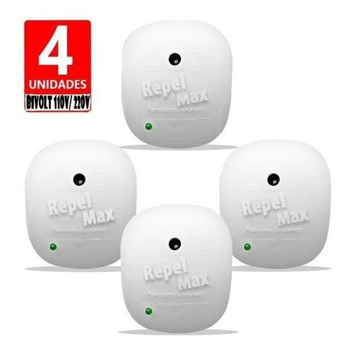 4 Repelente Eletrônico Repelmax Branco  Bivolt Econômico