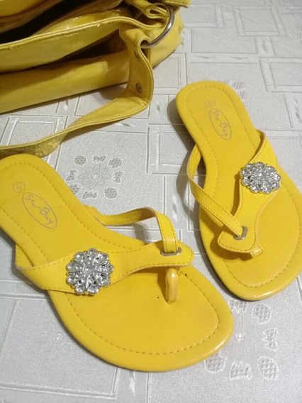 Sandalias Tipo Ojotas De Charol Amarillas Talle 35 + Cartera Tipo Bolso Ny + Envio