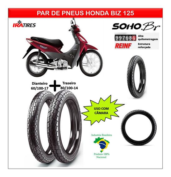 Kit Pneu Honda Biz 125 Todas Dianteiro E Traseiro Br