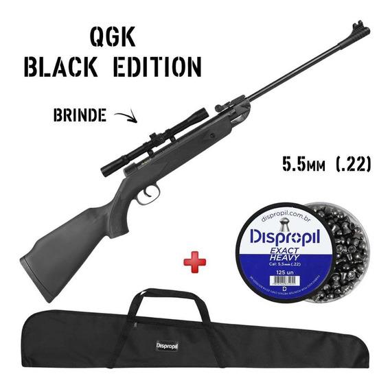 Carabina Pressão Chumbinho Qgk Black Edition 5.5mm + Luneta