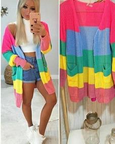 2 Cardigan Colorido Max Kimono Trico Blusas Roupas Femininas