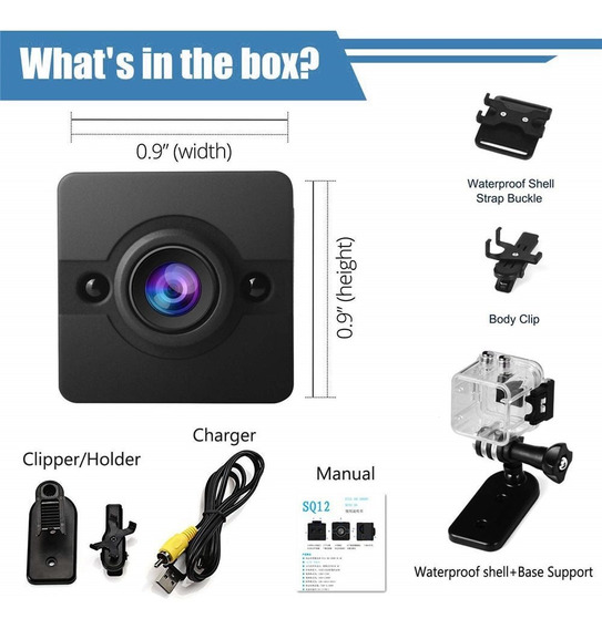 Sq12 Mini Câmera 720 P Cam Night Vision Wide Angle Lente À P