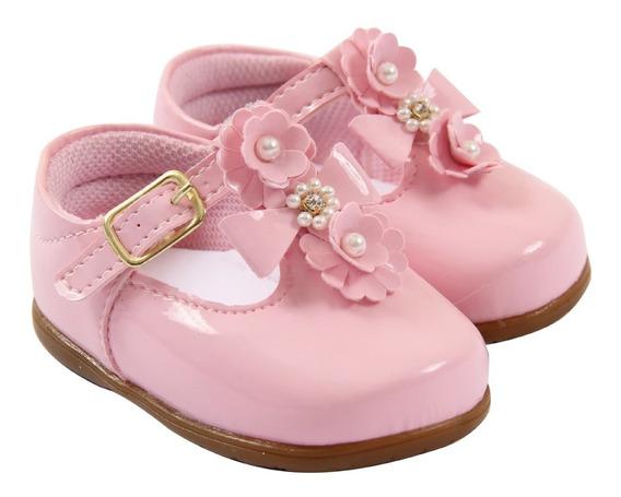 Sapatinho Bebê Menina Rosa Floral