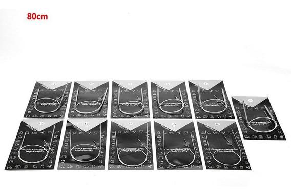 11 un.//set 43//65//80cm agujas de tejer de circular de acero inoxidable 1.5-5mm todos los tamaños