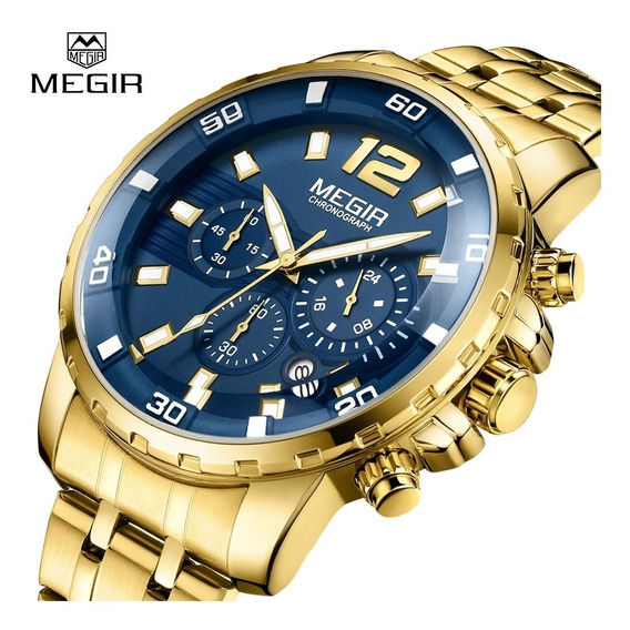 Reloj Importado Megir Gold Stainless Steels