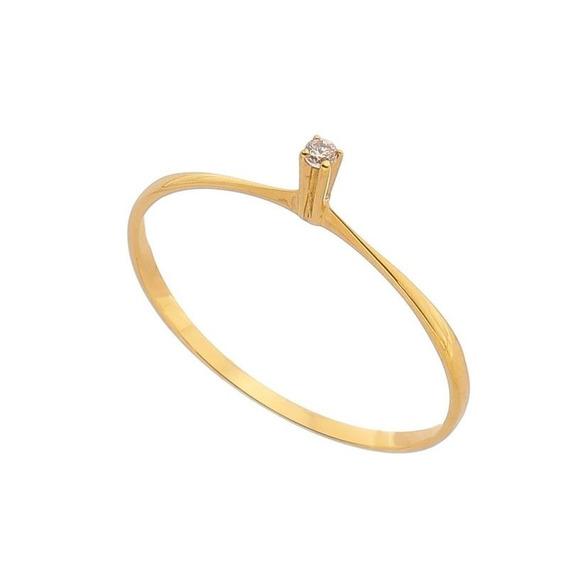 Anel Solitário Em Ouro Maciço 18k/750 Com Diamante
