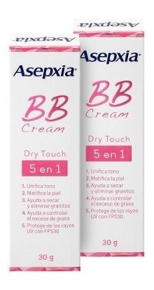 Asepxia Bb Cream Dry Touch 5 Beneficios En 1 Pack 2 De 30grs