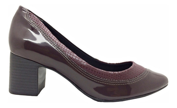 Sapato Comfortflex Feminino Croco Verniz Vinho Lançamento