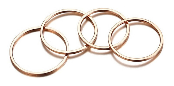 Conjunto Com 4 Anéis Modelo Slim Em Aço Inoxidável Rosê
