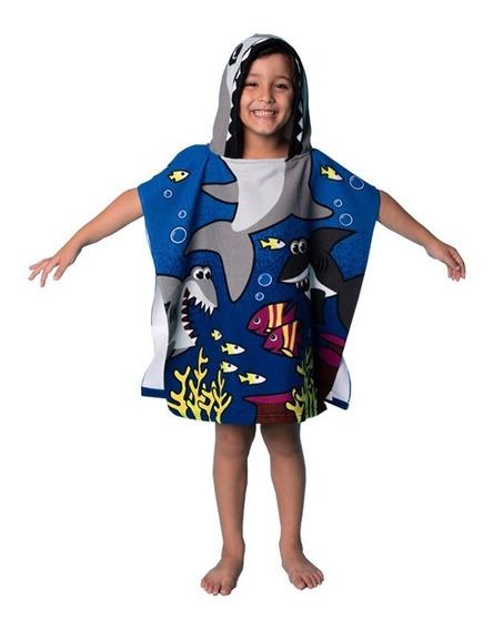 Poncho Toalha Infantil Modelo Tubarão Com Capuz