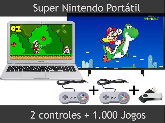 Kit Super Nintendo Portátil Snes - Pendrive + 2 Controles