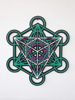 Cubo Del Angel Metatron 4 Niveles Madera 30cm 5 Elementos