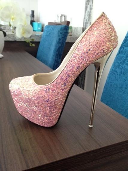 Sapato Glitter Rosa N°35 (a Negociar)