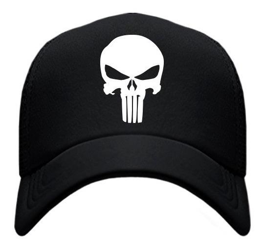 Gorra Tipo Trucker Negra The Punisher Skull Envío Gratis!