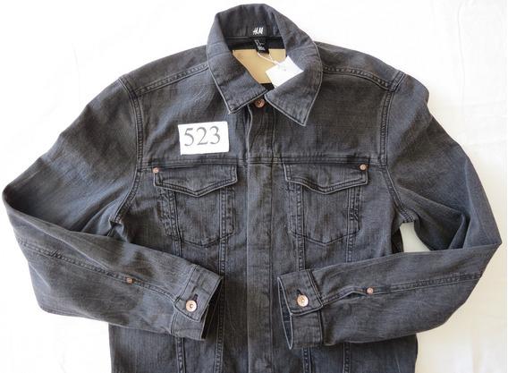 Jaqueta Jeans Preta Importada - H&m - Masc Tam M (cód J523)