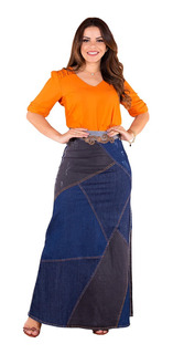 Saia Longa Jeans Evangelica Destroyed Recortes Moda Feminina