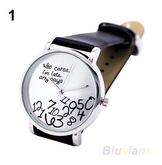 Relógio Unissex Who Cares I Am Late Anyway Pulseira De Couro