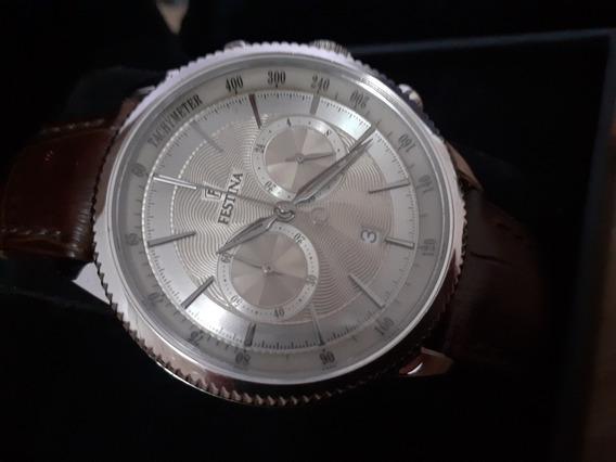 Relógio Festina Chronograph Original Pulseira Em Couro