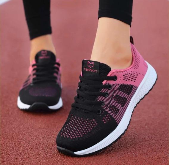 Tenis Deportivos Mujer 3 Modelos: Rosa Negro Y Gris Cómodos