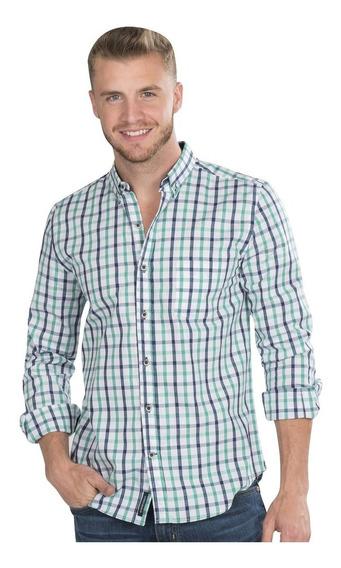 Camisas Hombre Cuadros Casual Verde Slim Fit Moda B90112