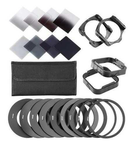 Kit De 8 Filtros Nd Densidade Neutra Quadrados Com Suporte