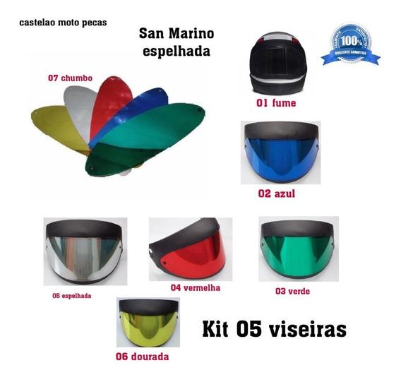 Kit 05 Viseira Capacete San Marino Espelhada