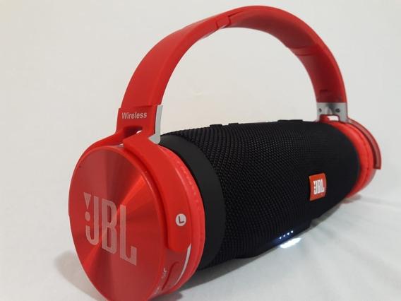 Kit Jbl Fone Headset Everest Jb950 Bluetooth Sd Fm Microfone + Caixa Som Charge3+ Bluetooth Fm Sd Usb (primeira Linha)