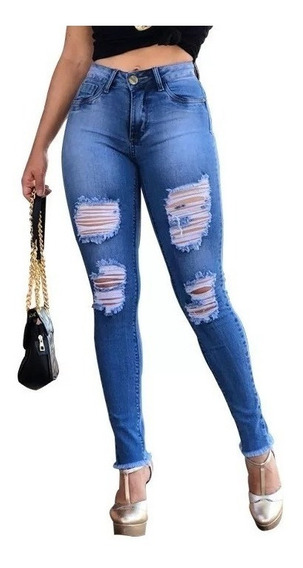 Calça Jeans Feminina Cintura Alta Estilo Pitbull Rasgada