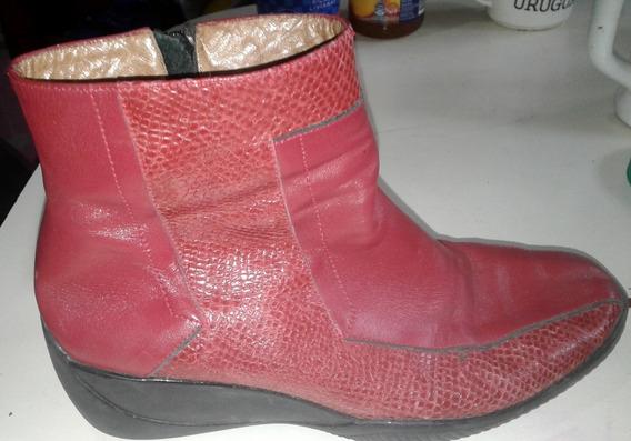 Botas De Cuero Puro Rojas Nuevas D Marca $500