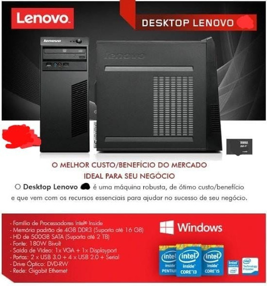 Desktop Lenovo 63 Core I3 4130 4gb Hd 500gb