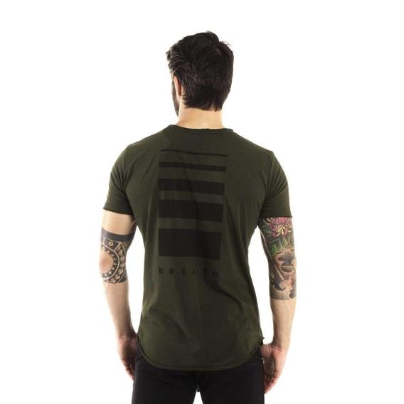 Camiseta Longline Curve Breath Verde Militar