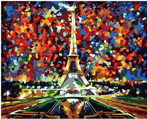 Imagen 1 de 1 de Lienzo Pinta Por Números Torre Eiffel París Grupo Educar