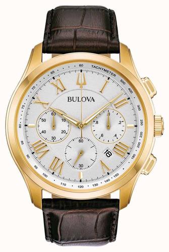 Relógio Bulova Chronograph Gold Couro 97b169