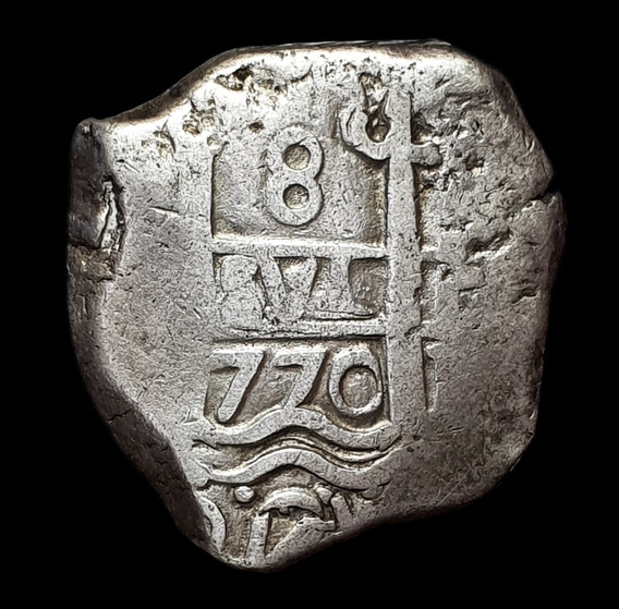 Ch C / Potosí, Macuquina 8 Reales 1770 Plata Doble Fecha