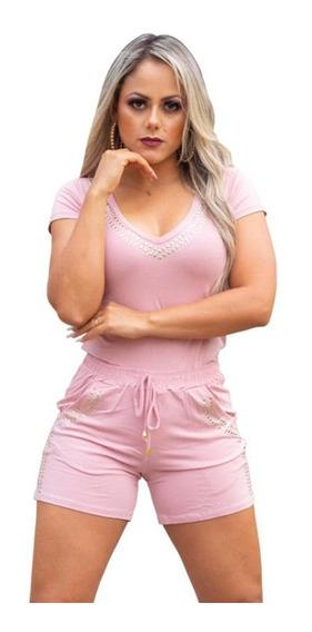 Conjunto Shorts + Blusa Com Brilho Roupas Femininas