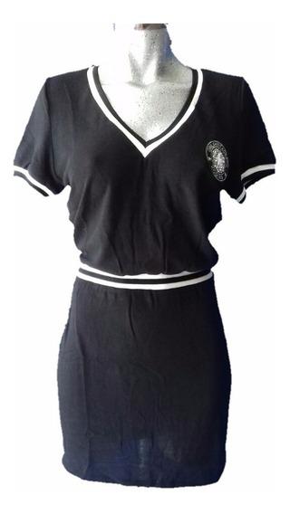 Mini Vestido Hilo Escote V Negro Colegial Porrista Deportivo