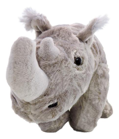 Pelúcia Rinoceronte Safári Cinza De 37cm Comprimento Fofinho