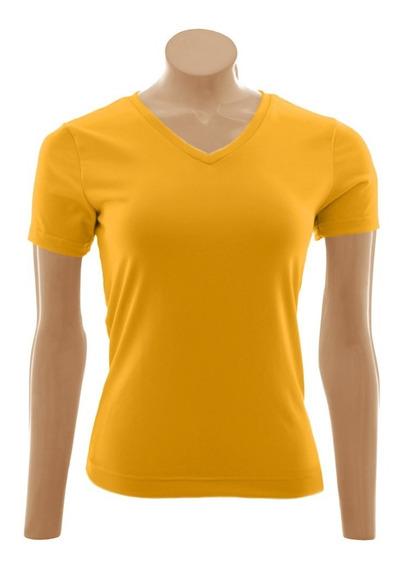 Camiseta Baby Look Gola V, Algodão - 3 Unid. Lj