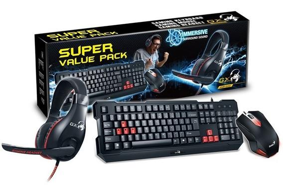 Kit Teclado Mouse E Headset Usb Gamer Kmh-200 Genius Preto