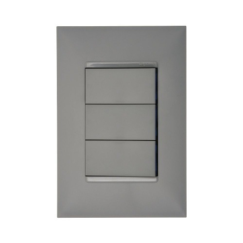 Imagem 1 de 4 de 3 Interruptores Simples 4x2 Cinza Pial Plus +